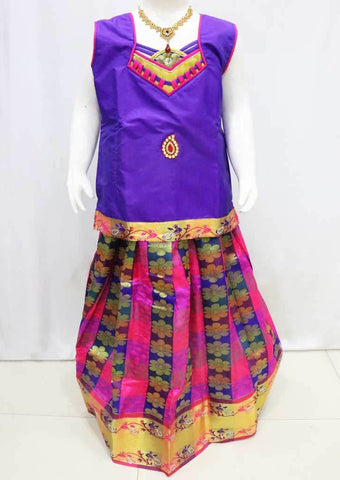Violet with Multi color Pattu Pavadai - FU3307 (Size : 11 Years ) ARRS Silks