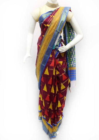 Violet with Multi Color Printed Cotton Saree - FQ116571 ARRS Silks