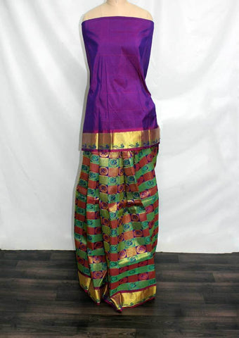 Violet with multicolour checked Pattu Pavadai Material - FF17518 (Size:  13Yrs to 18Yrs) ARRS Silks