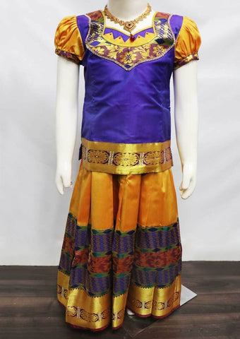Violet with Mustard Yellow Pattu Pavadai - FU3245 (Size: 6 Years) ARRS Silks