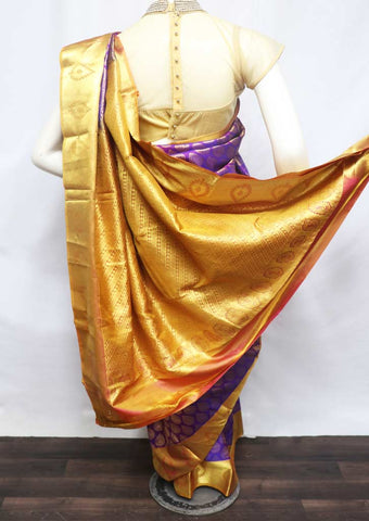 Violet With Orange Kanchipuram Silk Saree - FS25061 ARRS Silks