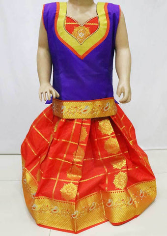 Violet with Orange  Pattu Pavadai - FN5306  (Size : 5 Years ) ARRS Silks