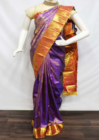 Violet With Orange Wedding Silk Saree - EZ11408 ARRS Silks