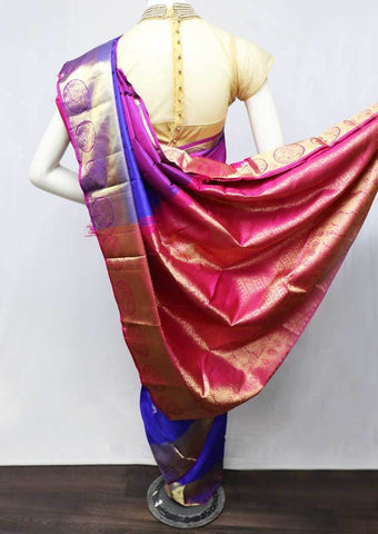 Violet with Pink Kanchipuram Silk Saree -EZ11315 ARRS Silks