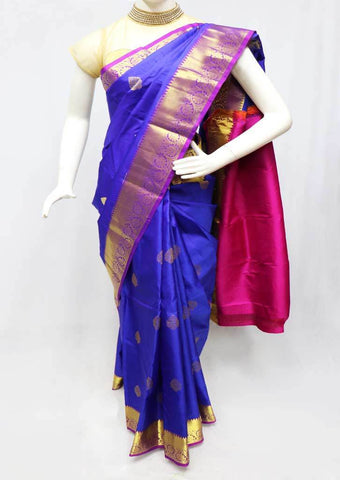 Violet with Pink Kanchipuram Silk Saree - FQ111630 ARRS Silks