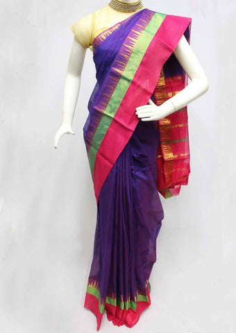 Violet With Pink Silk Cotton Saree - FR27762 ARRS Silks