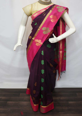 Violet with Pink Silk Cotton Saree - GC21699 ARRS Silks
