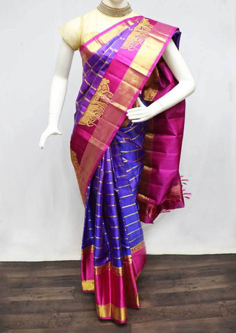 Violet with Pink Wedding Silk Saree - FR127690 ARRS Silks