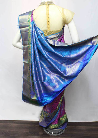 Violet with Sky blue Wedding Silk Saree -EE12427 ARRS Silks