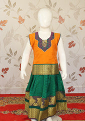 Orange with Green Art Silk Pavadai