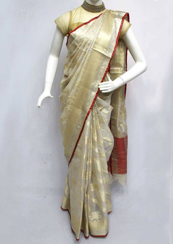 White and Golden with Red Fancy saree -FQ135781 ARRS Silks