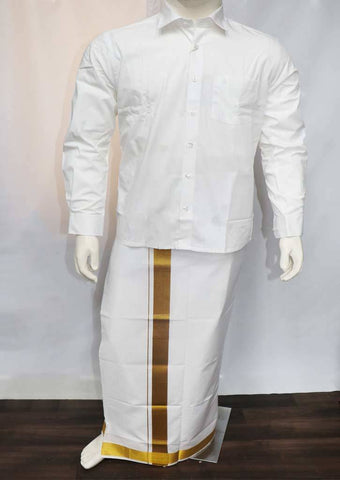 White Full Hand Pure Cotton Shirt - FT5902 ARRS Silks
