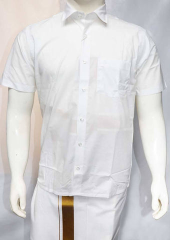 White Half Hand Silk Cotton Shirt - FT5915 ARRS Silks