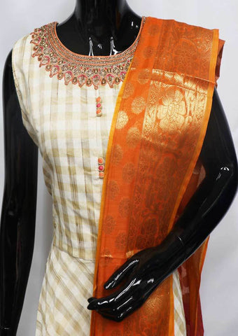 White with Brown Checked  Readymade Salwar-FU47026 ARRS Silks