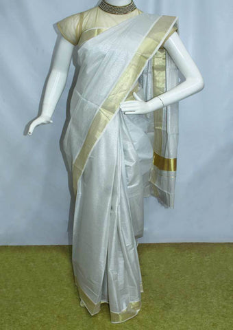 White with Golden Pure Cotton Saree - FP10001 ARRS Silks