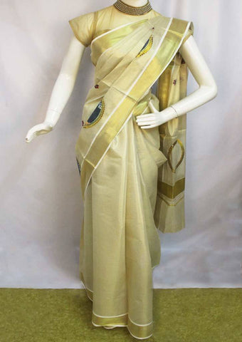 White with Golden Pure Cotton Saree - FP100032 ARRS Silks