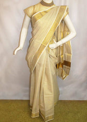 White with Golden Pure Cotton Saree - FP10006 ARRS Silks