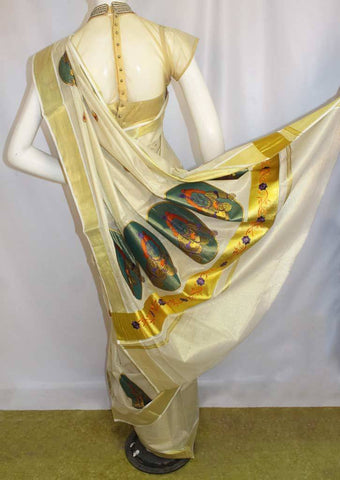 White with Golden Pure Cotton Saree - FP10008 ARRS Silks