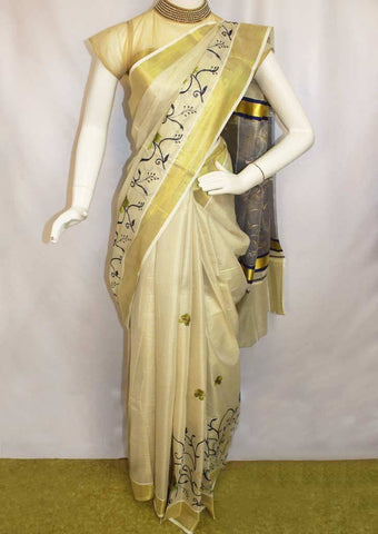 White with Golden Pure Cotton Saree - FP10024 ARRS Silks