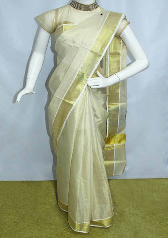 White with Golden Pure Cotton Saree - FP10029 ARRS Silks