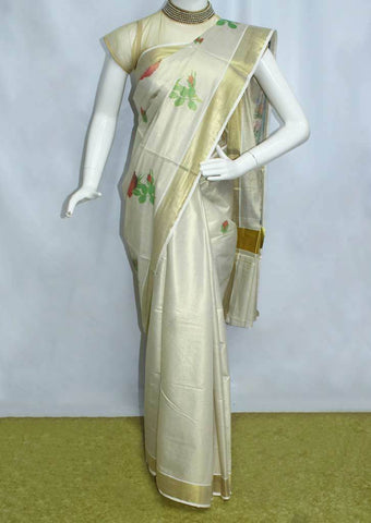 White with Golden Pure Cotton Saree - FP10039 ARRS Silks