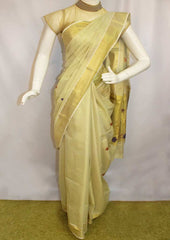 White with Golden Pure Cotton Saree - FP9942 ARRS Silks