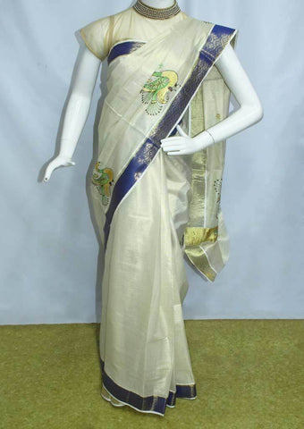 White with Golden Pure Cotton Saree - FP9943 ARRS Silks