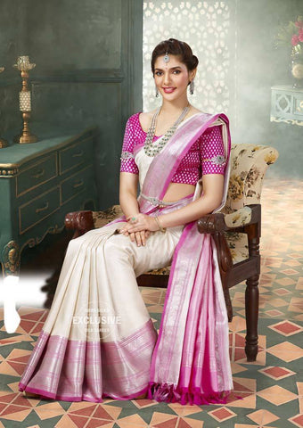 White with Pink Wedding Silk Saree - 9KA4118 ARRS Silks