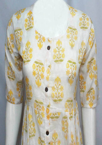 White with Yellow Colour and Printed Cotton Kurti - FO3512 ARRS Silks