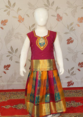 Maroon with Multi-color Art Silk Pavadai