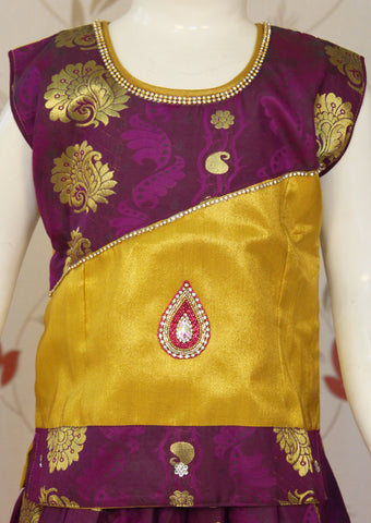 Lavender with Yellow Art Silk Pavadai