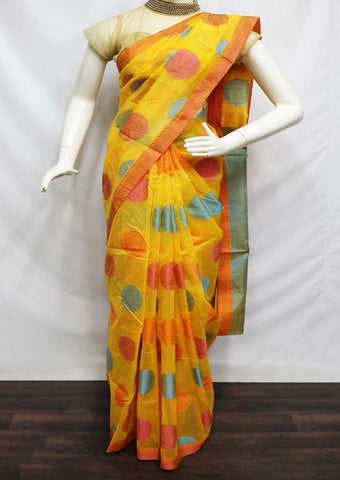 Yellow Color Manipuri Cotton Sarees- FW7234 ARRS Silks