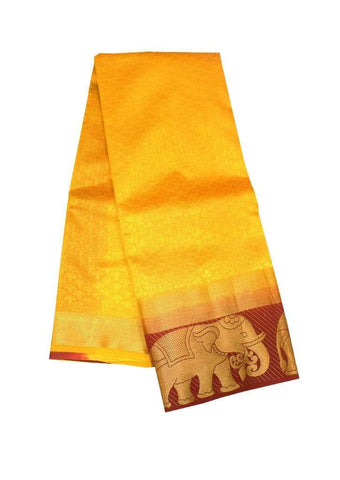 Yellow Color Semi Raw Silk Saree ARRS Silks