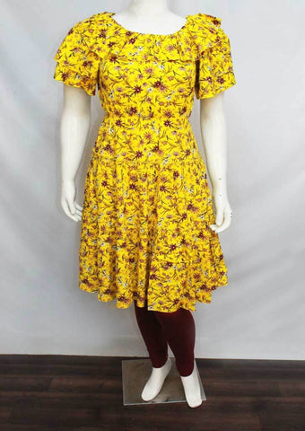 Yellow Colour and Printed Rayon Crep Kurti - FQ33046 ARRS Silks