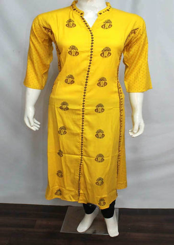 Yellow Colour and Printed Rayon Crep Kurti - FQ34075 ARRS Silks
