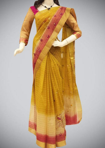 Yellow Manipuri Cotton Saree ARRS Silks
