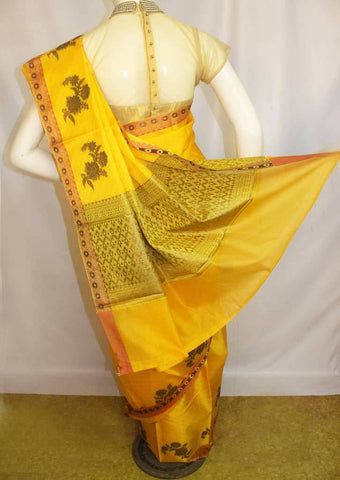 Yellow Organza Cotton Sarees- F087558 ARRS Silks