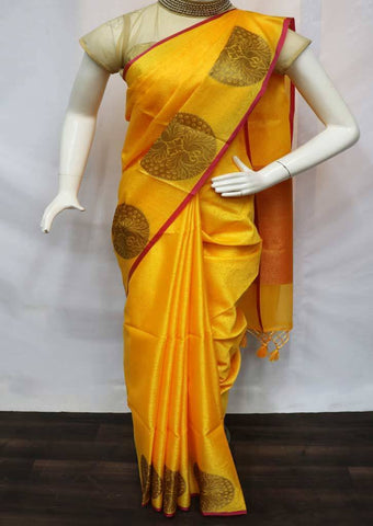 Yellow Organza Cotton Sarees- FU10605 ARRS Silks