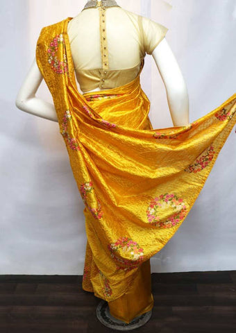 Yellow Pure Raw Silk Saree - FL5544 ARRS Silks