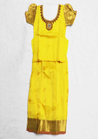 Yellow Pure silk Stitched pattu pavadai - FU828( Age-1 year and below) ARRS Silks