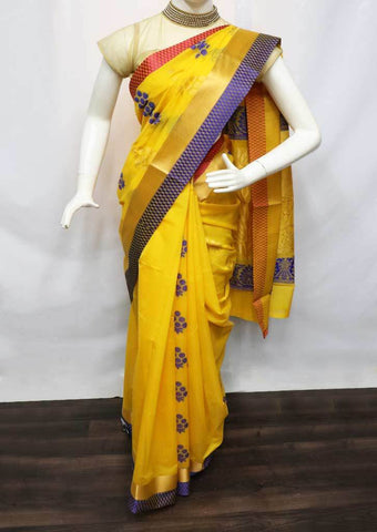 Yellow Silk Cotton Saree - HBN7751 ARRS Silks