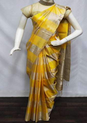 Yellow with Ash color Soft Silk Saree - GB42678 ARRS Silks