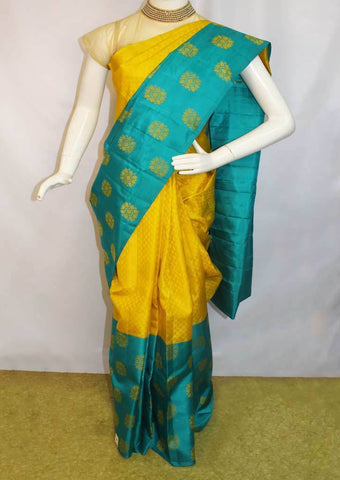 Yellow With Blue Kanchipuram Silk Saree-FM83153 ARRS Silks