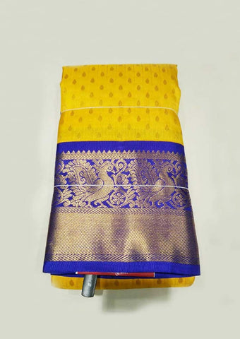 Yellow With Blue Kanchipuram Silk Saree - GE60123 ARRS Silks