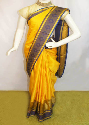 Yellow with Blue Organza Cotton Sarees- FP10473 ARRS Silks