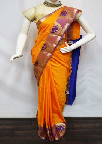 Yellow With Blue  semi silk saree  - FV21029 ARRS Silks