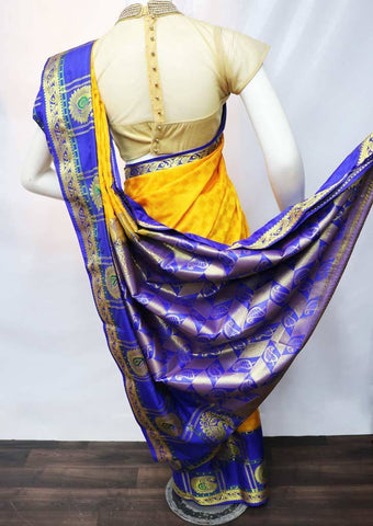 Yellow with Blue Soft Semi Silk Saree - FU47691 ARRS Silks