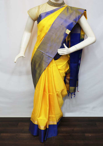 Yellow With Blue Soft Silk Saree - GE53927 ARRS Silks