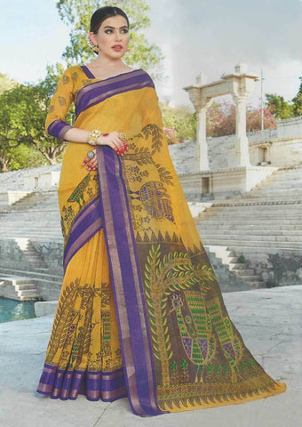 Yellow with Blue Synthetic Saree-FO97634 ARRS Silks