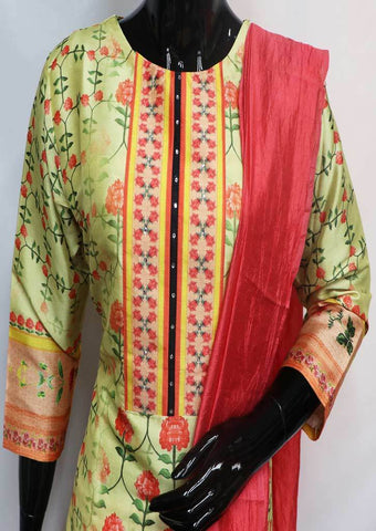 Yellow with Crossandra Straight Cut  Readymade Salwar-FQ36871 ARRS Silks